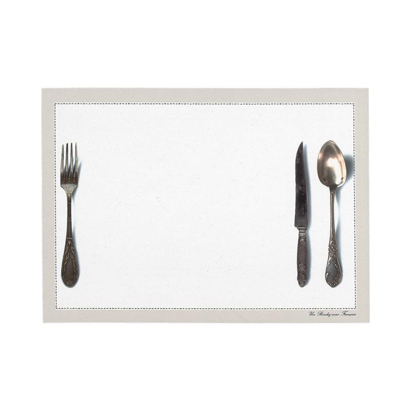 Set de table motif Couverts blanc