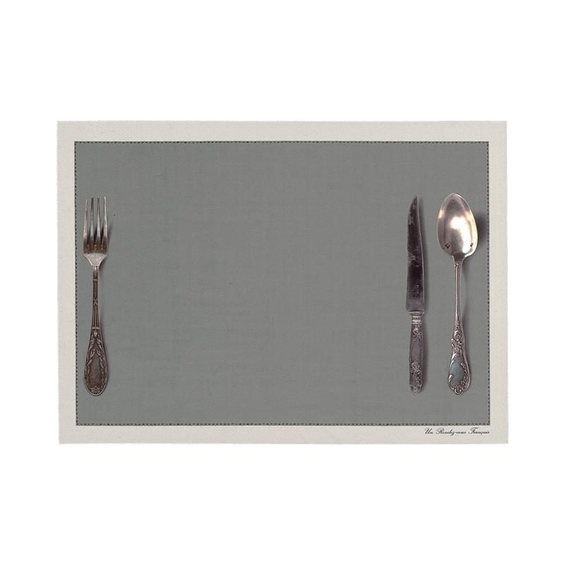 Set de table motif Couverts gris