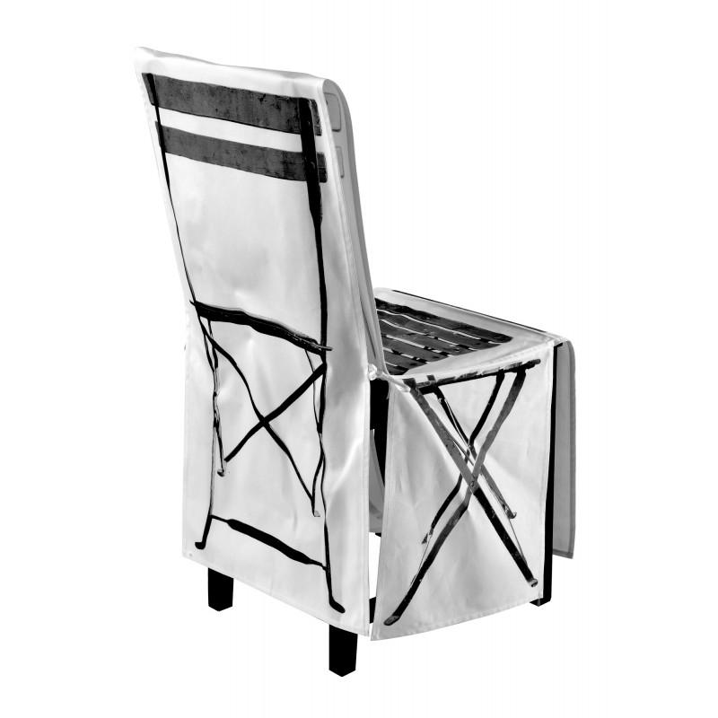 Housse de chaise pliante noir blanc for Housse de chaise blanc