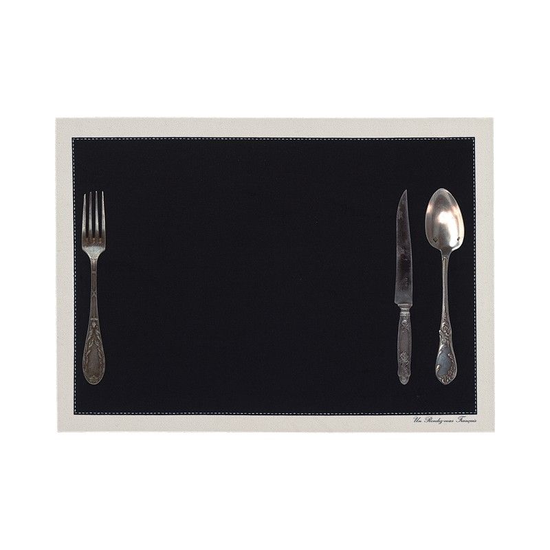 Set de table motif Couverts noir
