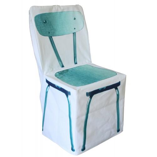 """Housse de chaise """"Zip bleu"""""""
