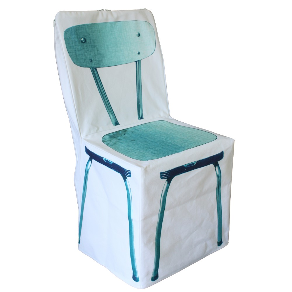 Housse de chaise zip bleu for Housse de chaise or