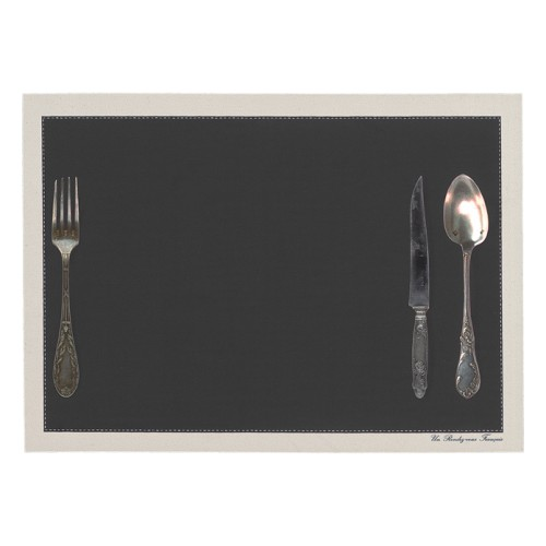 Set de table motif Couverts anthracite