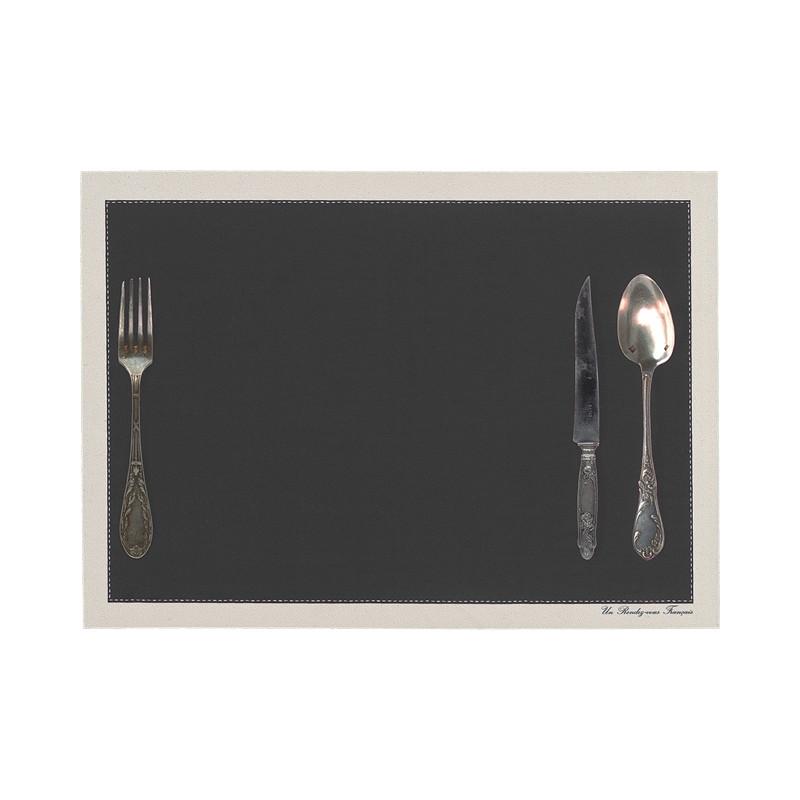 Set de table motif Couverts anthracite
