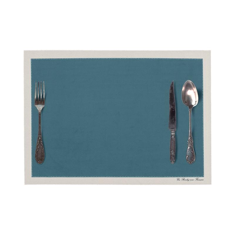 Set de table motif Couverts bleu