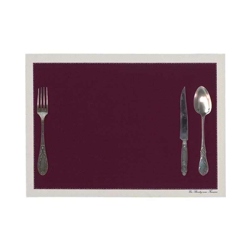 Set de table motif Couverts framboise