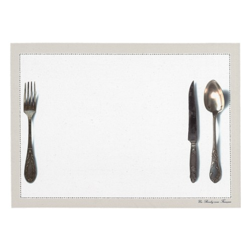 Set de table motif Couverts blanc