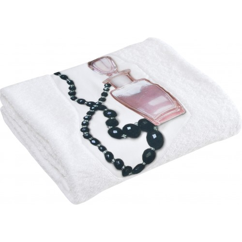 """Drap de bain éponge """"parfum & collier"""""""