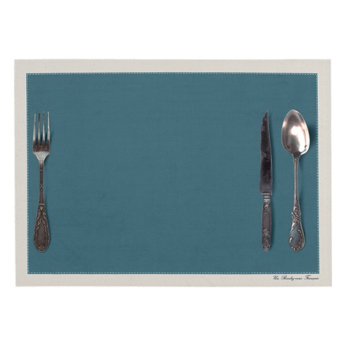 Set de table motif Couverts bleu