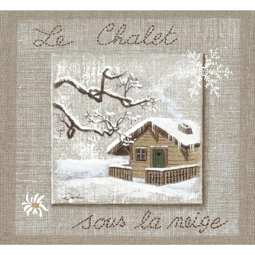 """Tenture murale """"le chalet sous la neige"""""""