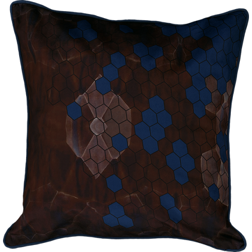 "Cushion cover and its ""Alvéoles"" pattern"