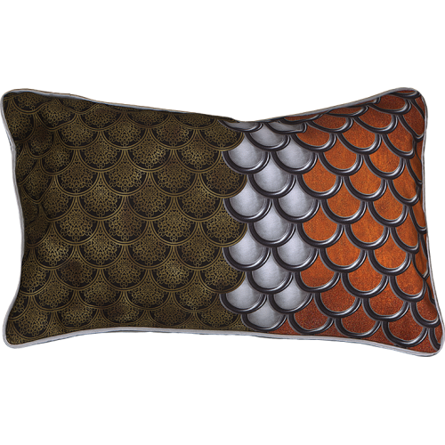 "Cushion cover and its ""Ecailles"" pattern"