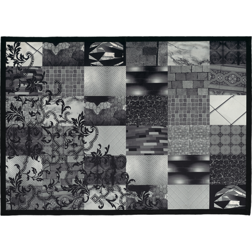 "Carpet and its ""Patchwork noir&blanc"" pattern"