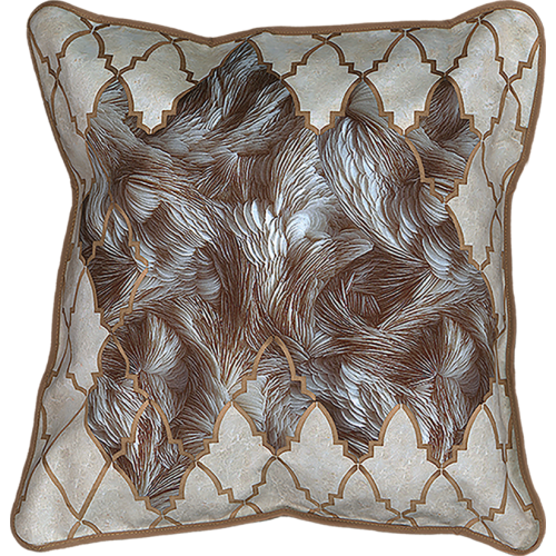 "Cushion cover and its ""Plumes"" pattern"