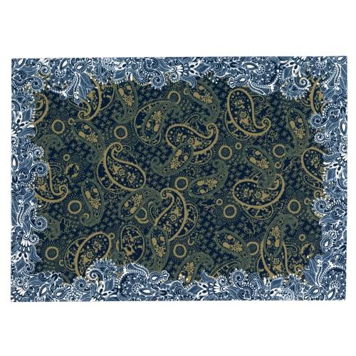 """Pack of 2 place mats """"Noël-Arabesques"""" blue"""