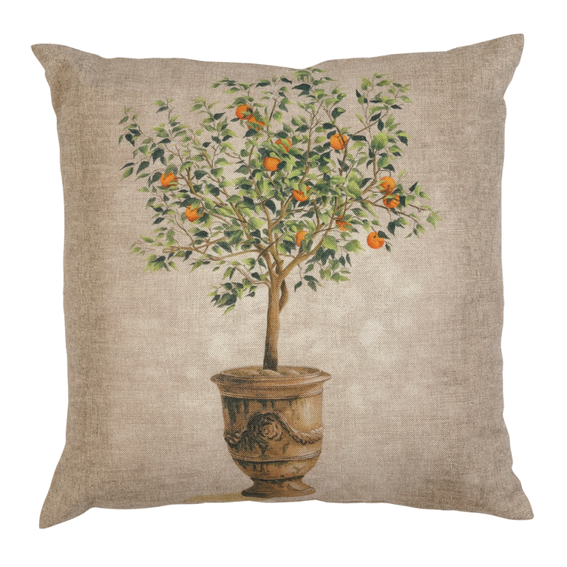 Cushion with an orange tree pattern