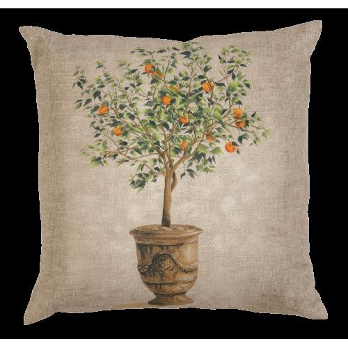 Cushion with an orange tree pattern