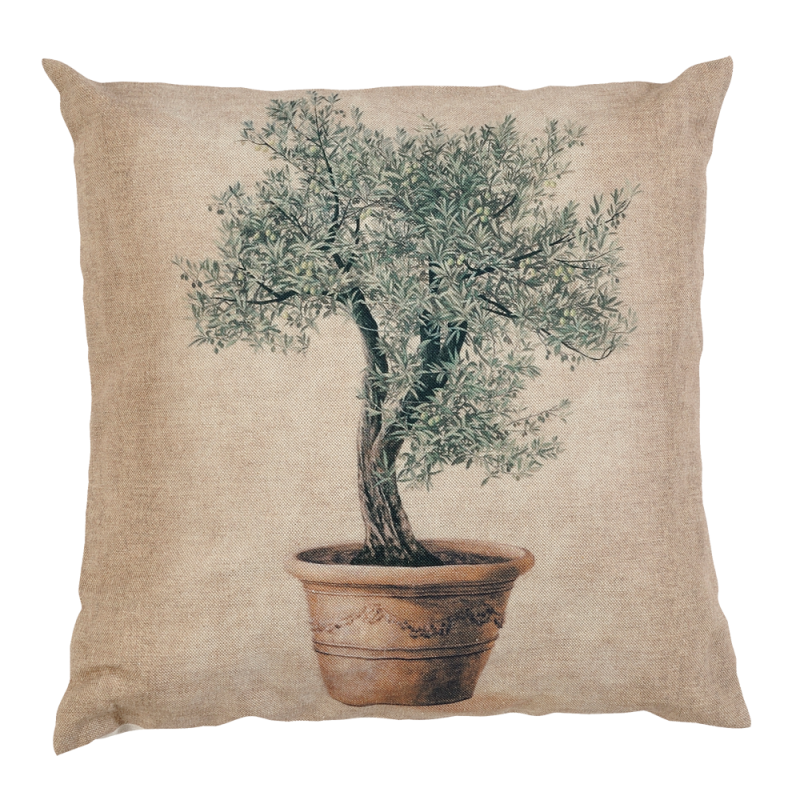 Cushion with an olive tree pattern