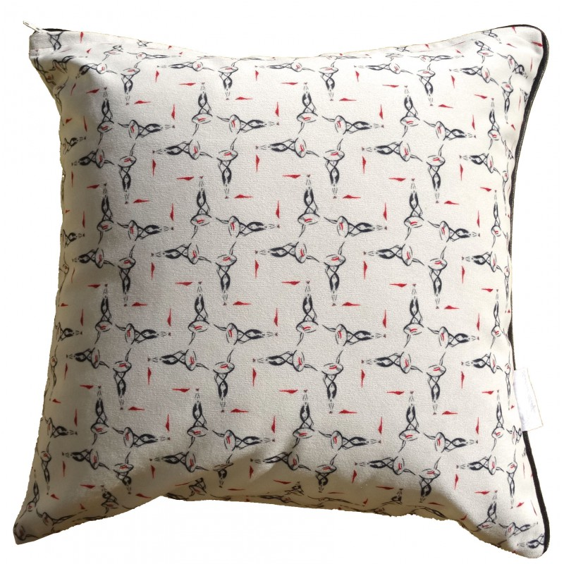 Cushion with a lemon tree pattern