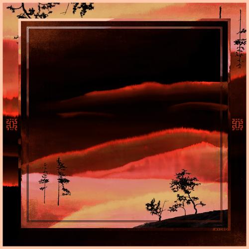 """Carré de soie """"Forêt Rouge"""""""