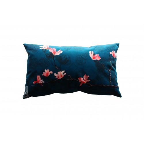 """HOUSSE DE COUSSIN """"Magnolia bleu"""" 30x50 cm"""