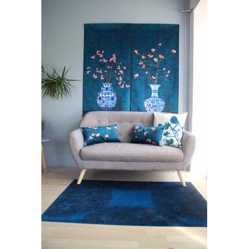 """HOUSSE DE COUSSIN """"Sakura bleu"""" 30x50 cm"""