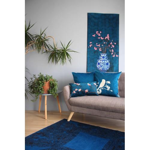 """HOUSSE DE COUSSIN """"La Mésange bleu"""" 50x50 cm"""