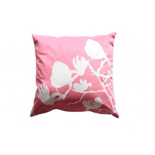 """HOUSSE DE COUSSIN """"Les Moineaux rose"""" 50x50 cm"""