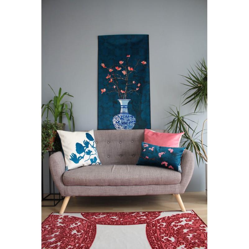 """HOUSSE DE COUSSIN """"Les Moineaux bleu"""" 50x50 cm"""