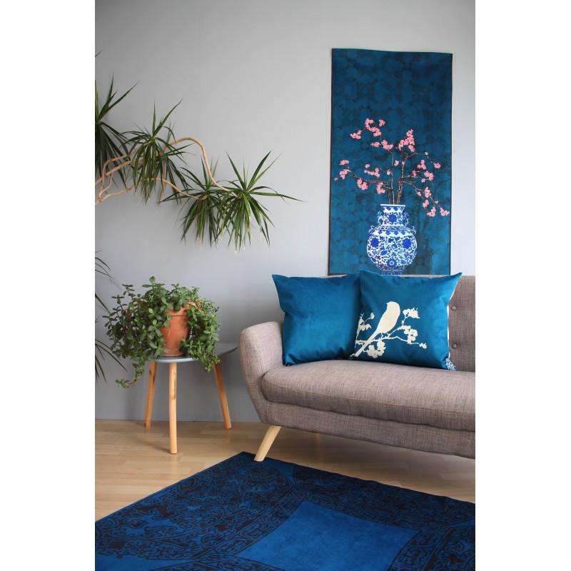 """HOUSSE DE COUSSIN """"Uni bleu"""" 50x50 cm"""
