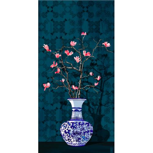 "TOILE ""Magnolia bleu"""