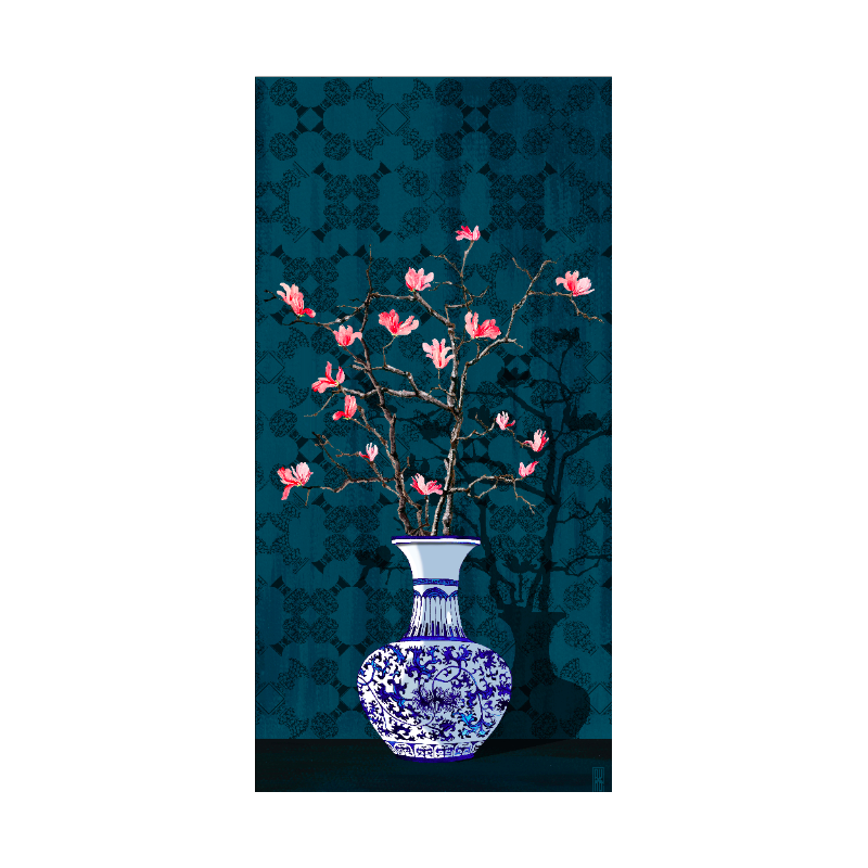 "TENTURE MURALE ""Magnolia bleu"""