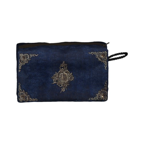 Bag with a blue velvet pattern