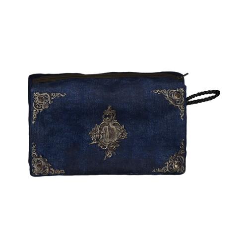 Pochette motif Velours bleu