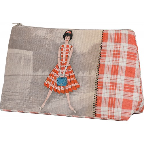 Pochette motif Silhouette Carreaux rouges recto