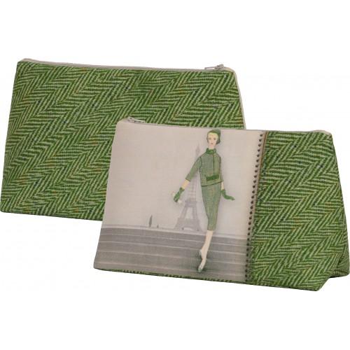 Pochette motif Silhouette Chevrons verts