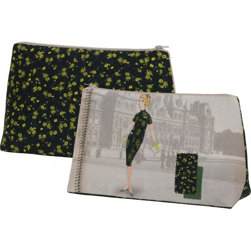 Pochette motif Silhouette fleurs noires
