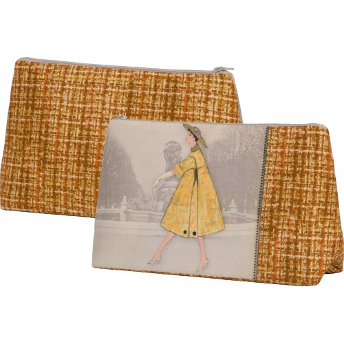Bag with a woman's shape and yellow tweed pattern