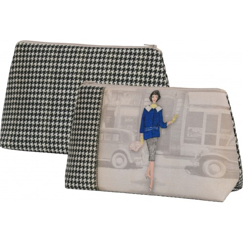 Bag with a woman's shape and black and white houndstooth pattern