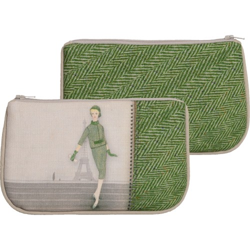 Little bag with a woman's shape and green chevron pattern