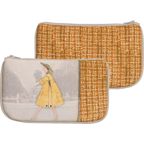 Little bag with a woman's shape and yellow tweed pattern