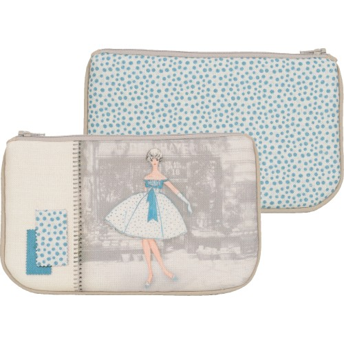 Little bag with a woman's shape and blue dots pattern