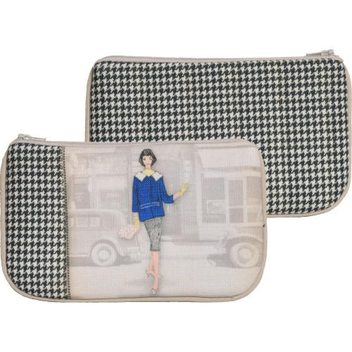 Little bag with a woman's shape and black and white houndstooth pattern