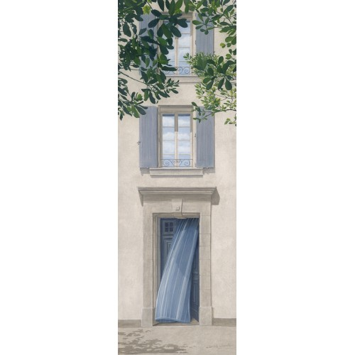 "Tenture murale ""Porte rideau bleu"""