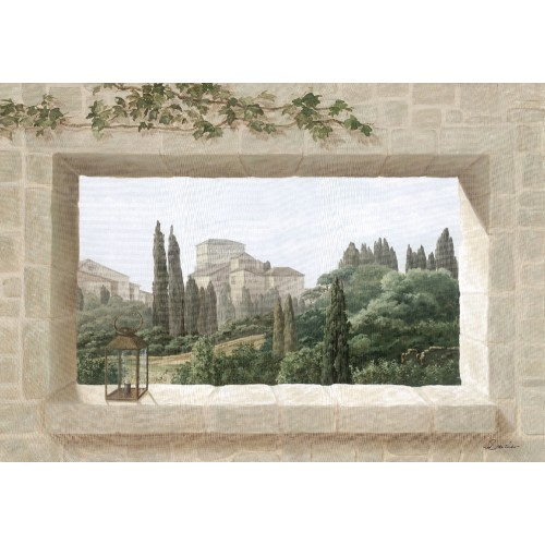 Wall hangings with a large window on Tuscany pattern