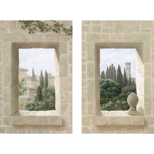 Wall hangings with a small windows on Tuscany pattern
