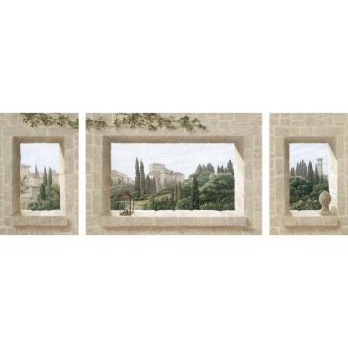 Wall hangings with a triptych Tuscany pattern