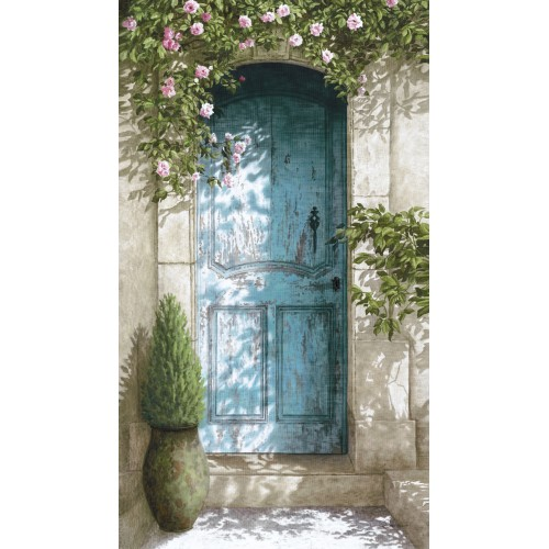 "Tenture murale ""Porte bleue"""