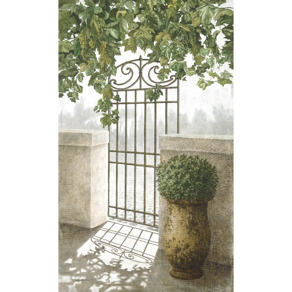 A Cotton Inkjet Printed Wall Hanging With A Garden Gate