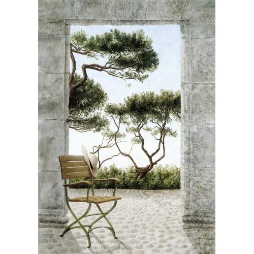 "Tenture murale ""Pin et chaise"""